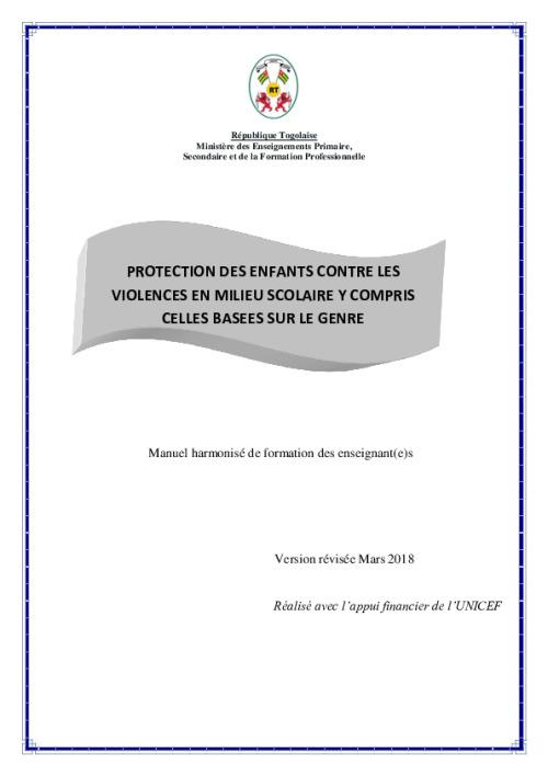 Protection des enfants contre les violences en milieu scolaire y compris celles basees sur le genre