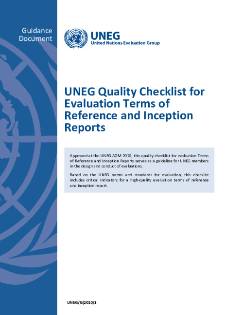 UNEG Quality Checklist for Evaluation Terms of Reference and Inception Reports