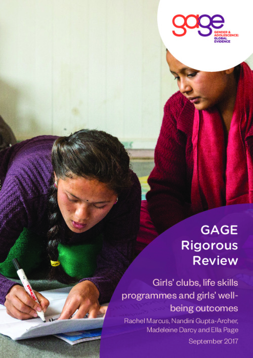 Girls' clubs, life skills programmes and girls' wellbeing outcomes
