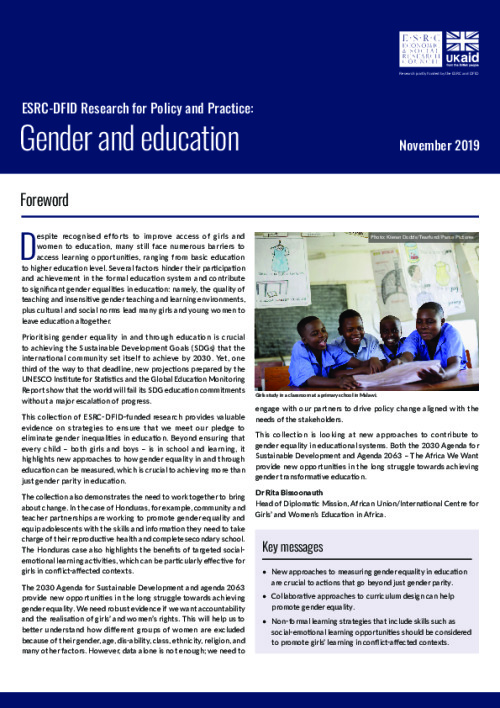 ESRC-DFID research for policy and practice: gender and education
