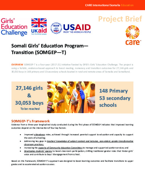 Somalia Girls' Education Project —Transition (SOMGEP—T)