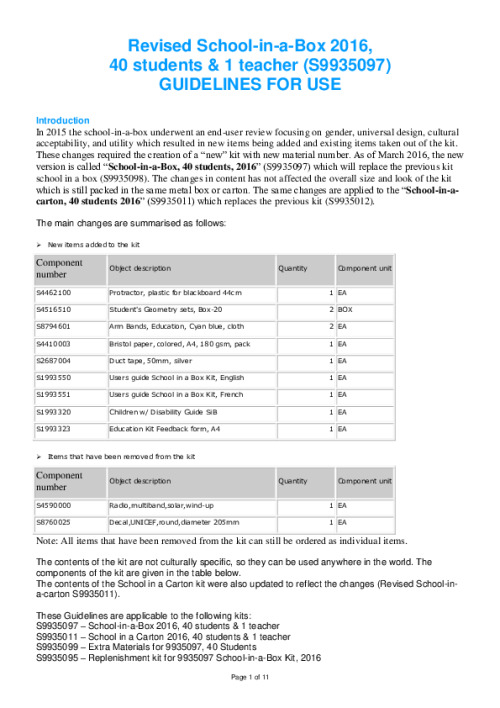 Revised School-in-a-Box-Kit Guidelines for Use