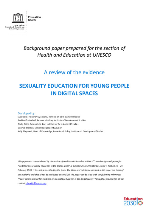 Sexuality Education for Young People in Digital Spaces