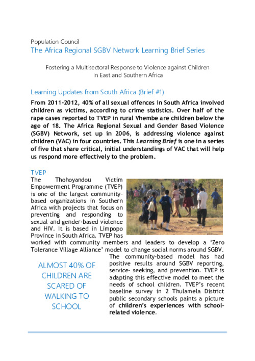 The Africa Regional SGBV Network Learning Brief Series
