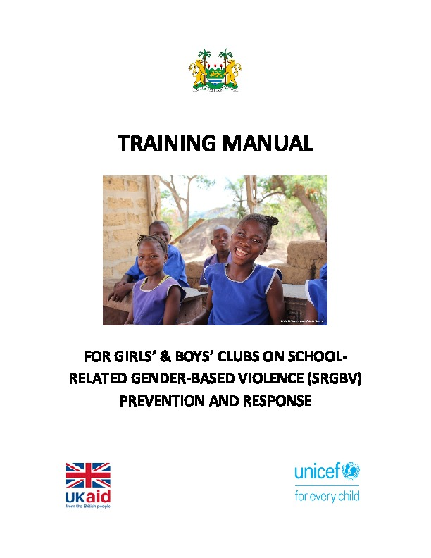 Training manual for girls' and boys' clubs on school-related gender-based violence prevention and response