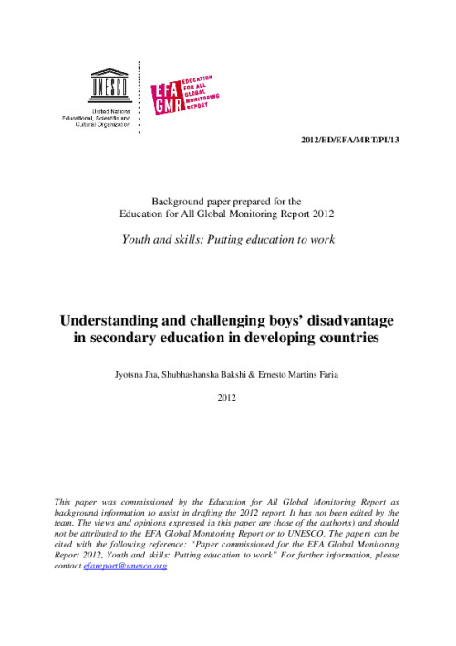 Understanding and challenging boys' disadvantage in secondary education in developing countries