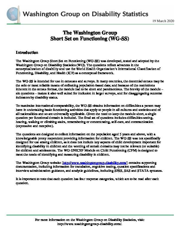 Washington Group on Disability Statistics Question Sets