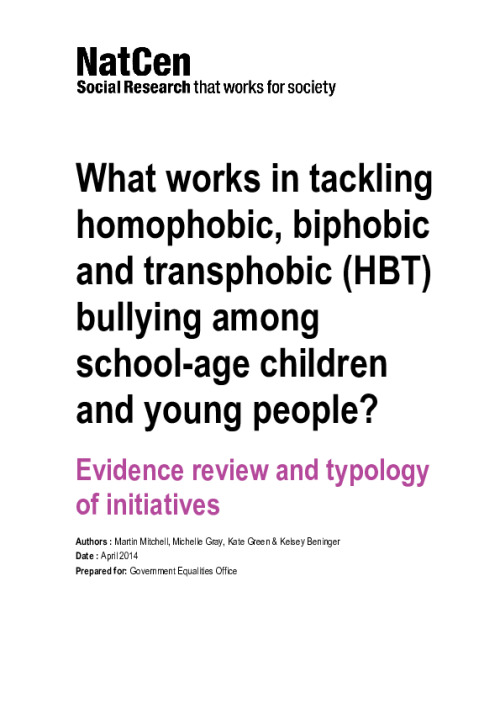 What works in tackling homophobic, biphobic and transphobic (HBT) bullying among school-age children and young people?