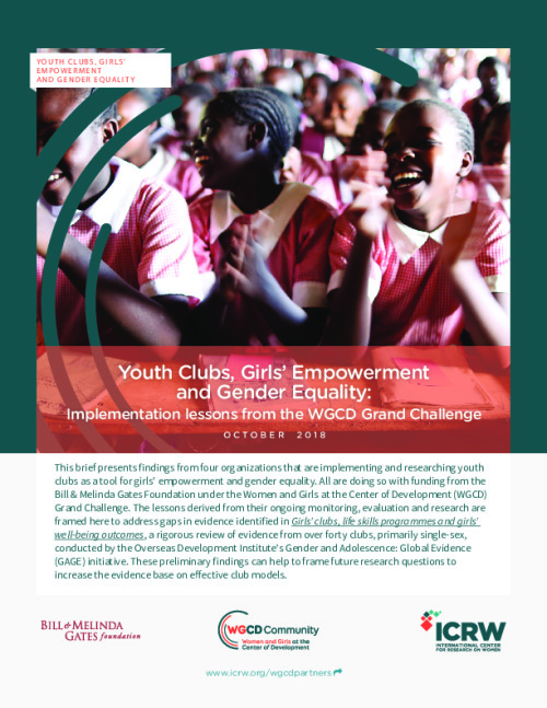 Youth Clubs, Girls' Empowerment and Gender Equality